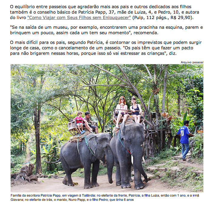 Matéria da Folha Turismo sobre viagem com bebês